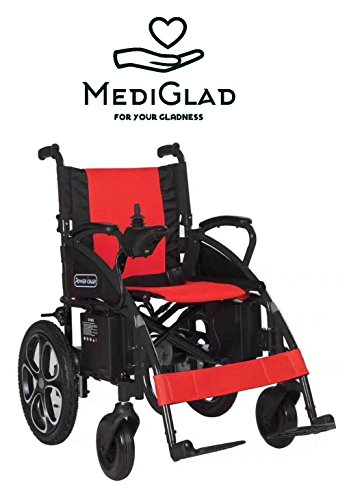 Lightweight Heavy Duty Electric Power Wheelchair with LITHIUM BATTERY (RED) (Foldable Power Wheelchair)