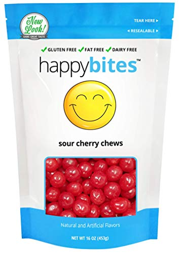 (Happy Bites Chewy Sour Cherry Balls - Gluten Free, Fat Free, Dairy Free - Resealable Pouch (1 Pound))