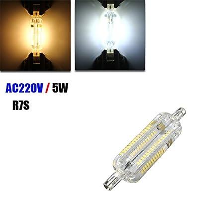 R7S 78mm 104 SMD 3014 5W LED Warm White White LED Light Lamp Bulb AC 220V (Random: Color)