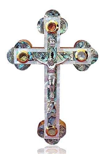 23cm Mother Of Pearl Jerusalem Orthodox Wall Cross wood Crucifix (MOP-CRS-002)