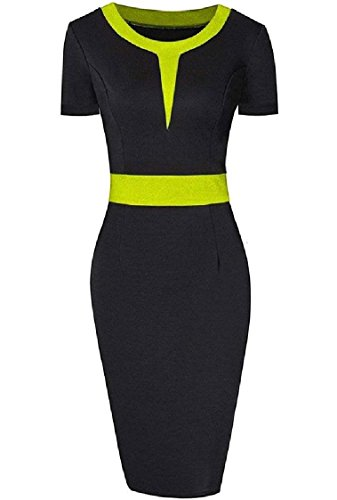 Stitch Yellow Fitted Color Women Coolred Neck Crew Hit Slim Short Dress Sleeves Party 70x5q