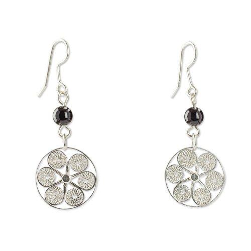 NOVICA Onyx .925 Sterling Silver Dangle Earrings 'Festive Pinwheels'