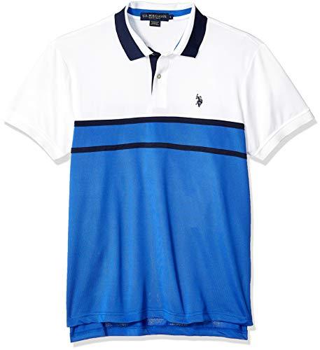 (U.S. Polo Assn. Men's Feel Dry Poly Pique Polo Shirt, Wedding Blue, L)