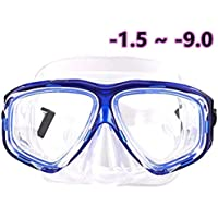 WOWDECOR Snorkel Mask, Diving Snorkeling Mask for Nearsighted Adult Kids, Myopia Myopic Scuba Dive Snorkel Mask with Nearsight Optical Corrective Lenses Customized Goggles Diopters Prescription RX