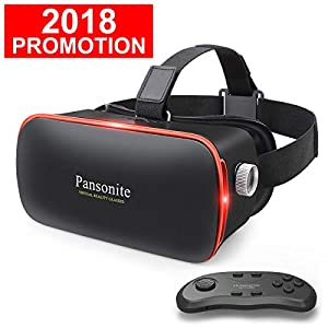Pansonite 3D VR Glasses Virtual Reality Headset for Games & 3D Movies, Lightweight with Adjustable Pupil and Object Distance for iOS and Android Smartphone