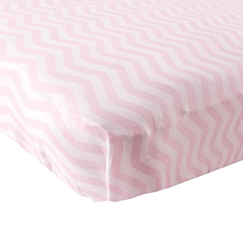 Luvable Friends Fitted Knit Cotton Crib Sheet, Pink Chevron, One Size