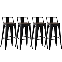 Farmhouse Barstools Kmax Industrial Metal Bar Stools Set – Height Bar Stools Chairs with Wood Seat & Low Backrest Indoor Outdoor, 30″, Set of 4, Black farmhouse barstools