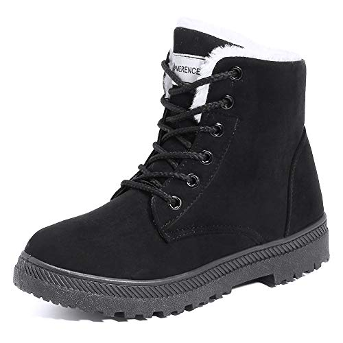 New Lace Up Warm Fur Lined Suede Ankle Boot Women Snow Outdoor Warm Winter Shoe