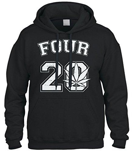 New Jumper Mens Smoke (Cybertela Four 20 Marijuana Weed 420 Sweatshirt Hoodie Hoody (Black, 3X-Large))