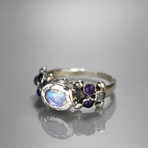 - Handmade Sterling Silver Rainbow Moonstone Labradorite Amethyst Antique Style Engagement Ring