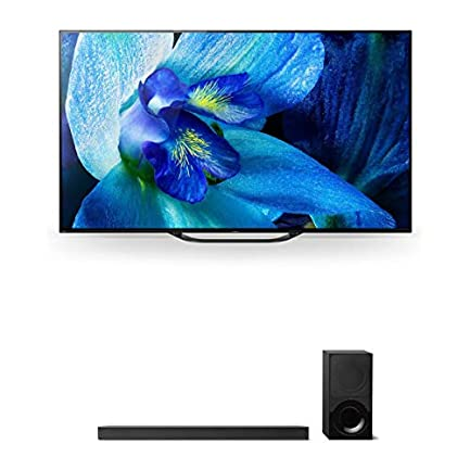 """Sony XBR-55A8G 55"""" BRAVIA OLED 4K HDR TV and HT-X9000F 2.1-Channel Dolby Atmos Soundbar with Subwoofer 1"""