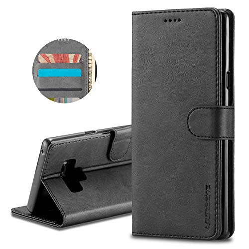 Galaxy Note 9 Wallet Case Flexible PU Leather + Soft TPU 2 in 1 Flip with Cash and Cards Holder Built-in Kickstand Magnetic Closure Cover for Samsung Galaxy Note 9 (Black) ()