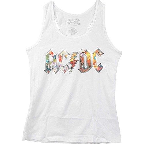 (AC/DC Women's Floral Logo White Tank Womens Tank Large White)