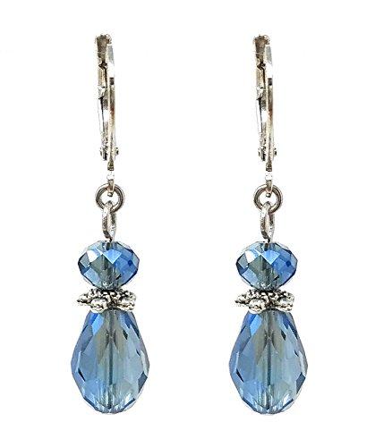 Glass Teardrop Earrings - Denim Blue ()