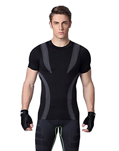 Prettywell Men's Body Shaper Quick Dry Corset Sports Short Sleeve T-shirts MA09 Black L