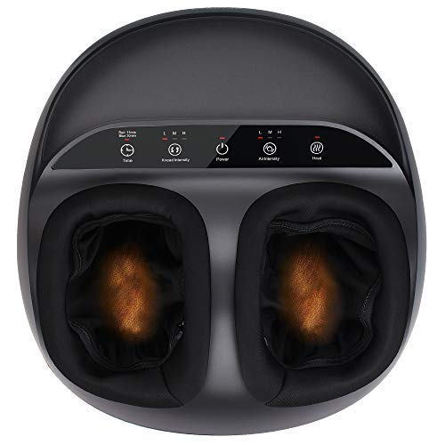 RENPHO Shiatsu Foot Massager Machine with Heat, Deep Kneading Therapy, Air Compression, Relieve Foot Pain from Plantar Fasciitis, Improve Blood Circulation, Fits feet up to Men Size 12- Panel Control (Best Cheap Foot Massager)