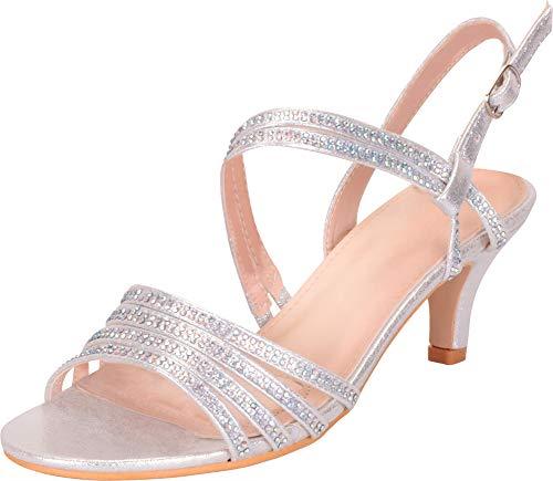 Cambridge Select Women's Open Toe Strappy Crystal Rhinestone Mid Kitten Heel Sandal,9 B(M) US,Silver