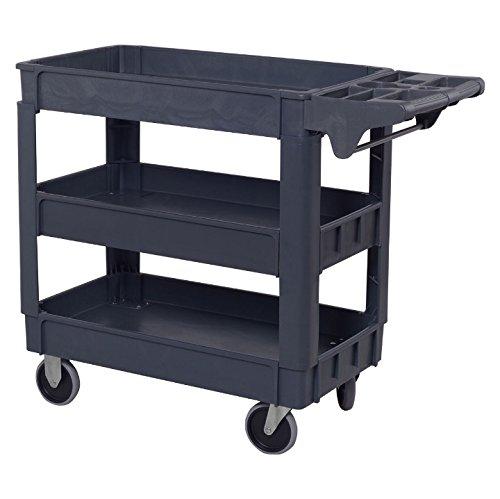 3 Shelves Plastic Utility Service Cart Heavy Duty Storage Rolling Cart 550 LBS Capacity Food Serving Cart Tools Organizer Garage Mechanics Craftsman Toolbox Ergonomic Handle Easy To Move Around