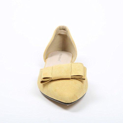 Ideal Shoes Ballerinas Spitz und Effekt Wildleder Evanie Gelb