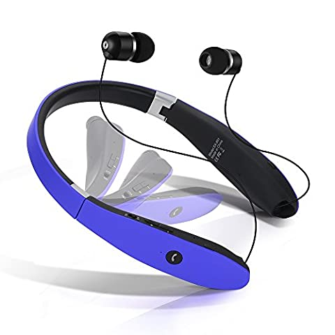 Dostyle Bluetooth Headset, Wireless Bluetooth Stereo Headphones Headsets Neckband Foldable Sweatproof with Retractable Earbuds with (Over Ear Headphones Blue Tooth)