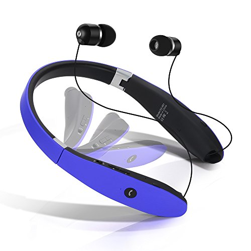 Dostyle Bluetooth Headset, Wireless Bluetooth Stereo Headphones Headsets Neckband Foldable Sweatproof with Retractable Earbuds with Microphone(Blue)
