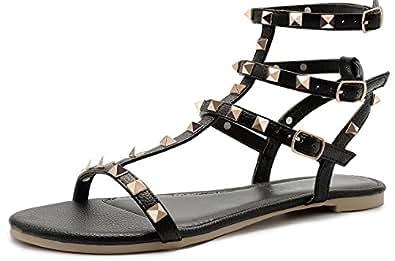 SANDALUP Rivets Studs Flat Sandals w Double Metal Buckle for Women's Summer Dress Shoes Black 05