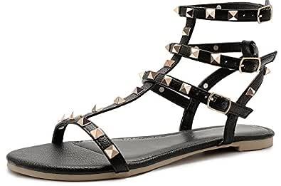 SANDALUP Rivets Studs Flat Sandals w Double Metal Buckle for Women's Summer Dress Shoes Black Size: 9
