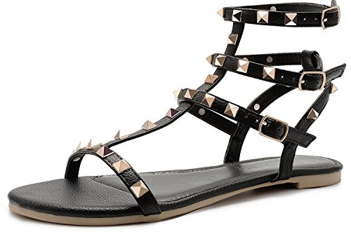 SANDALUP Rivets Studs Flat Sandals w Double Metal Buckle for Women's Summer Dress Shoes Black 09 ()