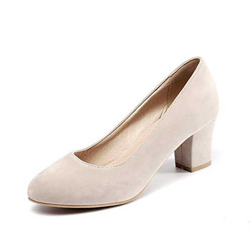 Womens Spring Autumn Round-Toe Faux Leather Block Chunky Heels Pumps Shoes For Wedding Beige 6lTZZuOLsi