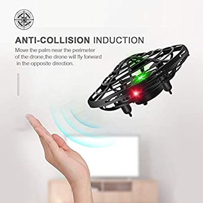 Flying Toys Drones for Kids, 2019 Improved Flying Ball Drone Toy with Infrared Sensor Auto-Avoid Obstacles 360°Rotating LED Light, Mini Quadcopter Hand Operated Drones for Boys or Girls