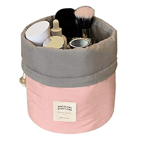 (YaptheS Travel Round Toiletry Bag Drawstring Wash Bag Cosmetic Round Bucket Style Travel Make-up Bag Organizer Pink Tools Make You Beautiful)