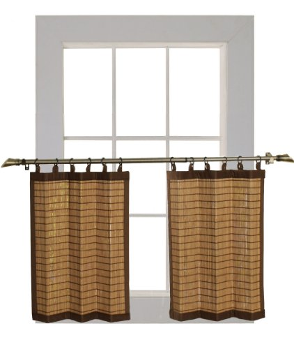 Bamboo Ring Top Curtain BRP07 2-Piece 48-Inch L x 24-Inch H Tier Set, Colonial Brown