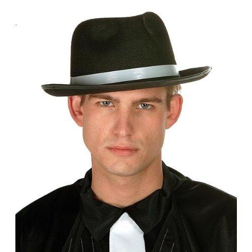 [12-inch Gangster Hat Felt (Black) Accessory] (Gangster Hats For Sale)