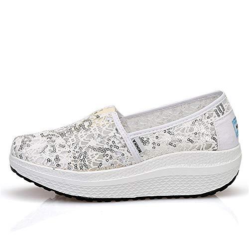 2 para 38 EU Zapatillas de con FangYOU1314 3 Transpirables oscilantes Zapatos Zapatos Malla Color Blanco Blanco Cuñas Correr Ayuda poca Lentejuelas tamaño con 11qUgHwv