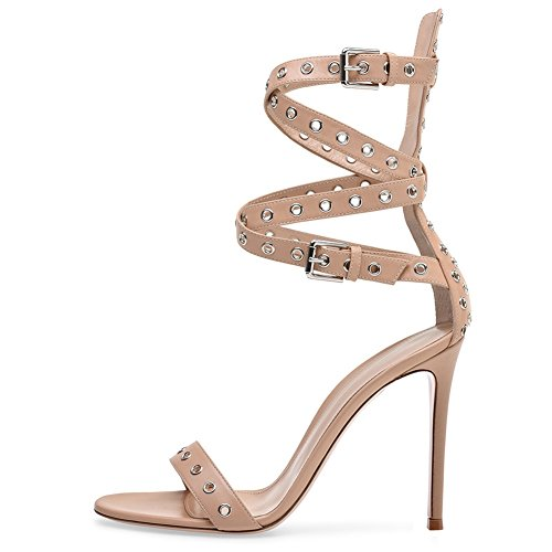 Grande Femmes High Sandales Peep YC pour Party Prom Robe Buckle Champagne Taille Toe L Heels BqaRwgxzz