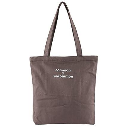 eDealMax Señora Shopping lienzo Palabras Patrón de ropa Libros Titular envase cosmético Bolsa de Brown