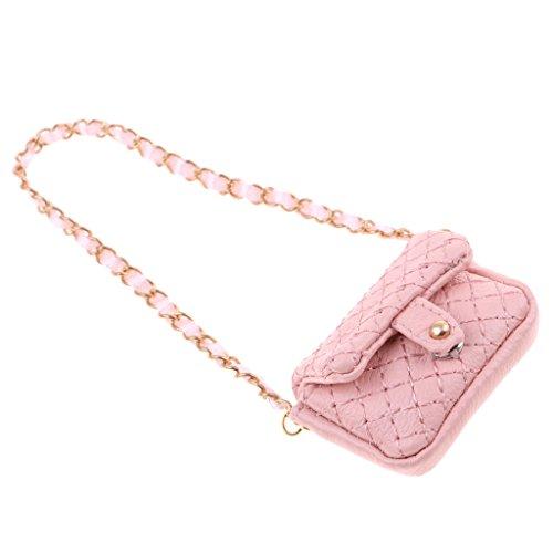 Homyl Fashion Pink Plaid Shoulder Bag Handbag Clothes for 12inch Blythe Takara 1/6 BJD DOD Dollfie Doll Outfit