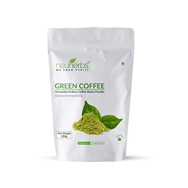 Neuherbs Green Coffee Beans Powder For Weight Loss: 200 G 2021 July Natural: neuherbs green coffee beans powder is the ground form of natural & untreated coffee grains Promotes Wellness: Chlorogenic acid can lower blood sugar levels & improve energy levels Boost Metabolism: green coffee beans may help in boosting your metabolism and immunity