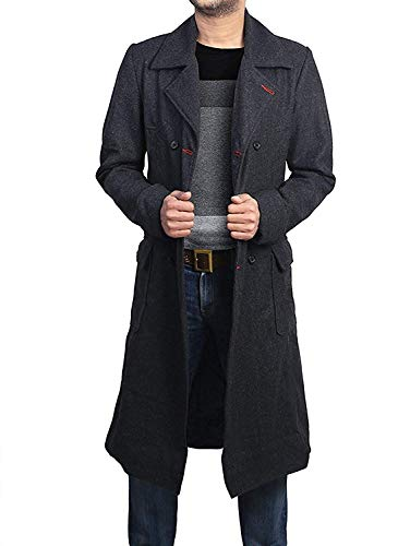 Vikings Fashion Mens Super Long Detective Woolen Trench Coat | Black Wool Long Coat | Black Wool Coat (L)