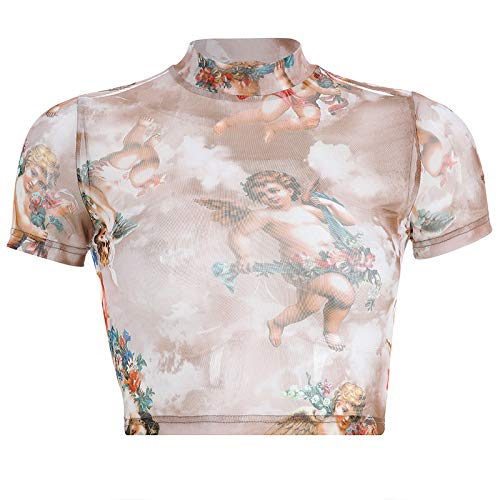 Malbaba Women Fashion Casual Short Sleeve Turtleneck Print Short Tops T-Shirt Blouse by Malbaba Women Blouse (Image #4)
