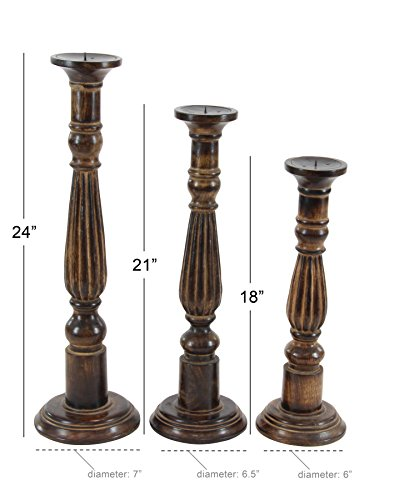 Deco 79 Wood Candle Holder, 24 by 21 by 18-Inch, Walnut Oil Finish, Set of 3 by Deco 79 (Image #2)