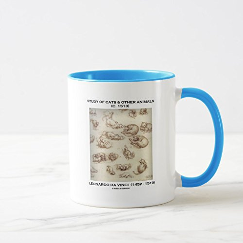 Zazzle Study Of Cats & Other Animals (leonardo Da Vinci) Coffee Mug, Light Blue Combo Mug 11 oz - Da Vinci 11 Light