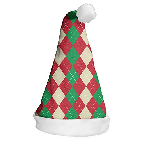 MZ-HY Christmas Santa Hat Christmas Argyle Print Cute Christmas Hat for Adults and Children Christmas Events and Parties