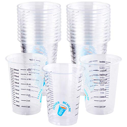 Pack of 25 Disposable Graduated Clear Plastic Measuring Cups - Transparent Containers for Mixing Paint, Epoxy, Resin - Sturdy Kitchen and Baking Accessories with Accurate Measurements