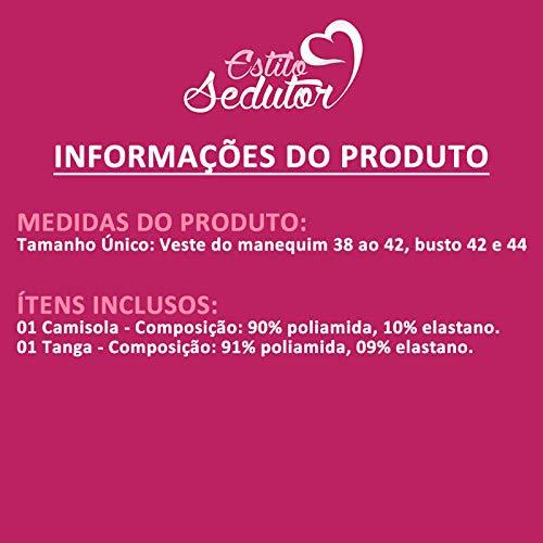 37a5952a9 Camisola Transparente em Renda e Tule com Bojo Olivia Rosa - MS1419:  Amazon.com.br: Amazon Moda