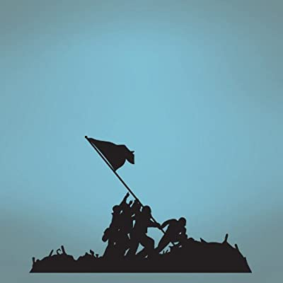 """Stickerbrand© Patriotic Military Vinyl Wall Art Iwo Jima Flag Raising Wall Decal Sticker - Multiple Colors Available, 72"""" x 117"""". Easy to Apply & Removable."""