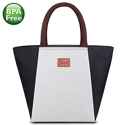 Lunch Bag for Women, Reusable Lunch Tote Bag with Side Zipper Pocket Insulated Lunch Bag Designed for Women, Adults, Black and White Splicing (Polyester Tote Bag Zipper)