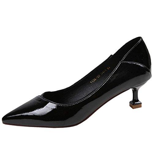 KPHY Puntiagudo Gato Y Talon Tacon Medio Solo Zapato Tacon Fino 5Cm De Boca Superficial Zapatos De Mujer Joker Los Zapatos De Trabajo. black
