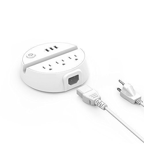 Power Strip with USB, NTONPOWER Power Strip Desktop Charging Station 3 USB 3 Outlets with Phone Stand Round Design Switch Control, 5ft Extension Cord for Indoor Nightstand Cruise Ship Travel - White
