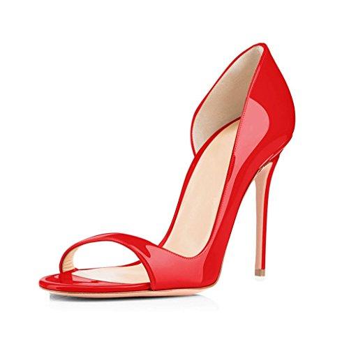 12CM col Rosso Scarpe Classiche Scarpe Tacco Scarpe Peep da Tacco Donna Toe ELASHE col Hqn4t4